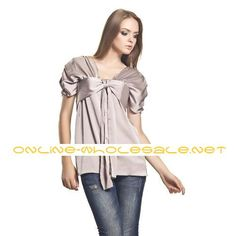 Front Drawstring Short Sleeves V Neckline Gathered Blouse / Womens Blouses (FF-A-BH0853032)
