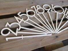 Stick Table numbers -   candy, found these on esty. they can stick out of the…