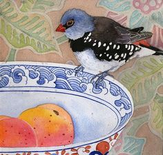 Gabby Malpas: Finch and Peaches,   Watercolour and pencil on sewn on Arches paper  Approx 19cm x 18cm.