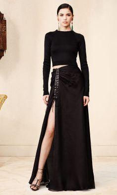 Love this Ralph Lauren for 2015 Fashion. Lambskin-Trim Frieda Skirt - Collection Apparel Maxi Skirts - RalphLauren.com