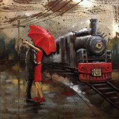 Metal Art 3D schilderij 'Station' met 3D elementen erop gelast volledig van metaal en beschilderd. De afmetingen zijn 100 x 100 cm.