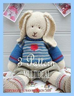 Oscar/Primrose/Bluebell/ 3 Pattern Deal / BUNNIES/ PDF Email/ Toy Knitting Patterns