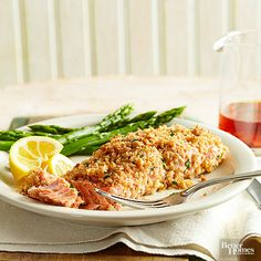 A crumbly mixture of panko, parsley, and peanuts coats these easy baked salmon fillets. Orange peel and juice add acidity to the fish, which pairs well with roasted asparagus.