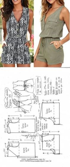 combishort (tutoriel gratuit - DIY combishort (tutoriel gratuit - DIY) - Jumpsuits and Romper Sewing Dress, Sewing Shorts, Dress Sewing Patterns, Sewing Patterns Free, Sewing Clothes, Clothing Patterns, Crochet Clothes, Sewing Coat, Coat Patterns