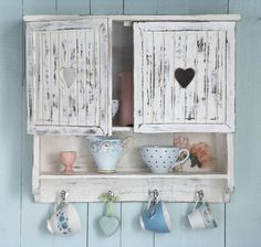 SHABBY SHAKER STYLE WALL SHELF/CUPBOARD.RUSTIC WHITE WOOD & CHIC HEART HANDLES | eBay