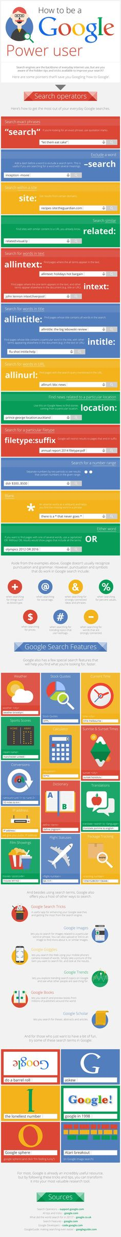 How to Be A Google Power User - #Google #infographic