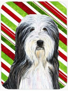 Bearded Collie Candy Cane Holiday Christmas Glass Cutting Board Large