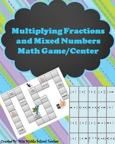 Multiplying #Fractions and Mixed Numbers #Math Game/Math Center: This is a great station or activity for students practicing multiplying fractions and mixed numbers. All you need are some dice and something to use for playing pieces! Math Games, Math Activities, Multiplying Fractions, Integers, Education Middle School, Sixth Grade Math, Math Groups, Math Work, Basic Math