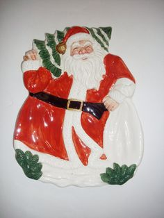 Vintage Santa Plate OCI Ceramic Christmas Serving by NanNasThings, $10.00