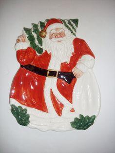 Vintage Santa Plate OCI Ceramic Christmas Serving by NanNasThings, $10.00