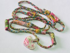 fabric colourful circle scarf braided necklace with fabric beads