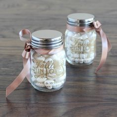 Autumn Wedding Ideas Personalized Fall Love Mini Mason Jars - Imprinted mini glass mason jars are pretty and petite, and are perfect as favors or as decor at your upcoming shower or wedding! Wedding Favors And Gifts, Mason Jar Wedding Favors, Wedding Candy, Bridal Shower Favors, Mason Jar Candy, Mini Mason Jars, Mason Jar Birthday, Jar Gifts, Debut Souvenir Ideas