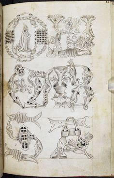 The Macclesfield Alphabet Book, pattern book. Contains the most complete set of designs for manuscript decoration known to have survived from late-medieval Britain. Medieval Books, Medieval Manuscript, Medieval Art, Illuminated Letters, Illuminated Manuscript, Medieval Pattern, Book Of Kells, Alphabet Book, Calligraphy Letters