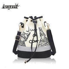 New fashion retro delle donne borsa di tela secchiello borse cute cat stampa borsa a tracolla coulisse casuale crossbody bag donna borse messenger