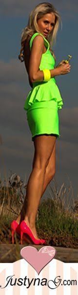 neon peplum dress & neon heels