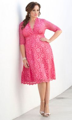 Mademoiselle Lace Dress #PlusSizeDressesPink