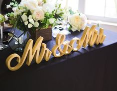 Script Mr and Mrs Table Signs for Wedding Sweetheart Table Decor | Handmade Wedding Decor & Gifts at www.ZCreateDesign.com... or shop ZCreateDesign on Etsy