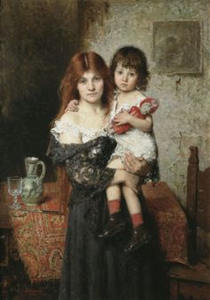 Mother and Daughter- Alexei Harlamoff  1901