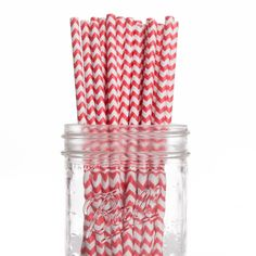 Vintage Paper Drinking Straws - Red Chevron Paper Straws (25/Pack) [DMC29228 Red Chevron Straws] : Wholesale Wedding Supplies, Discount Wedding Favors, Party Favors, and Bulk Event Supplies