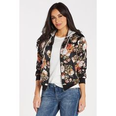 Hooded Floral Bomber ($68) ❤ liked on Polyvore featuring outerwear, jackets, floral bomber jackets, floral print bomber jacket, flower print jacket, hooded jacket and floral print jackets