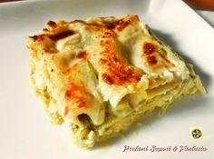 Lasagne al forno con pesto e scamorza, un'ottimo primo piatto delicato ma saporito allo stesso tempo. Sono veloci e facili da preparare anche con anticipo.