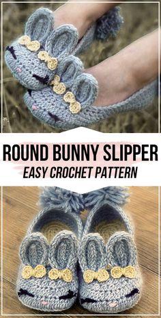 Oct 2019 - crochet Round Bunny House Slipper pattern - easy crochet slipper pattern for beginners Easy Crochet Slippers, Crochet Slipper Boots, Bunny Slippers, Kids Slippers, Crochet Socks, Doilies Crochet, Crochet Round, Crochet For Kids, Crochet Baby