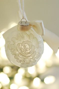 Turn a piece of your happiest memory into a lace-covered ornament so you're reminded of your big day for years to come. Get the tutorial here.   - Redbook.com