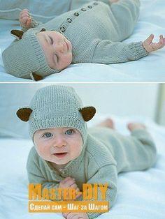 Вязаный комбинезон с ушками для малыша - вяжем спицами милый комбинезон для маленького малыша с забавными ушками. Комбинезон смотрится очень очаровательно и понравится и Вам и малышу.