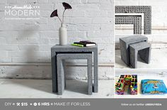 DIY Concrete Nesting Tables  with legos
