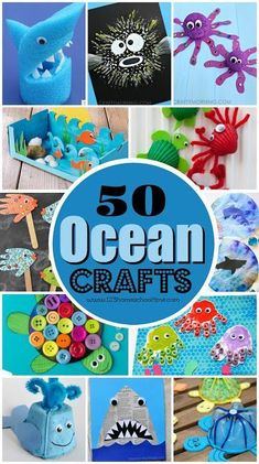50 Ocean Crafts for Kids - so many creative, unique, and fun ideas for fish, sharks, octopus, turtles, wales, jellyfish, dioramas, and more! Perfect summer craft for kids: toddler, preschool, kindergarten, first grade, 2nd grade. Love these art projects! #ocean #craftsforkids #preschool #kindergarten #1stgrade