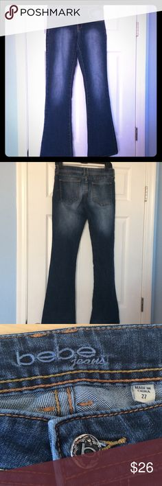 """BEBE LOW RISE JEANS 32 1/2"""" INSEAM. ZIP AND BUTTON CLOSURE. 7"""" RISE IN FRONT AND 13"""" IN BACK. TWO POCKETS IN FRONT AND TWO IN BACK. FLARED LEG. GOOD CONDITION HAS A FRAY ON BOTTOM SEE PIC 4 DO NOTKNOW IF IT WAS MADE THAT WAY OR WORN. 27 bebe Jeans Flare & Wide Leg"""