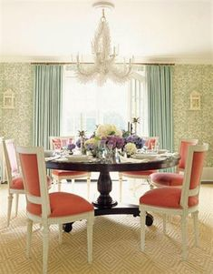 mix and match table and chairs - just a little less formal for the kitchen