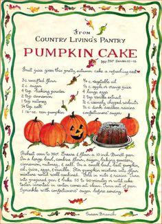 Samhain - Day Of The Dead - Ancestors = Pumpkin Cake, Susan Branch Old Recipes, Vintage Recipes, Pumpkin Recipes, Cooking Recipes, Thanksgiving Recipes, Holiday Recipes, Fall Treats, Fall Baking, Sweets