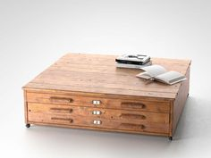 Architects flat file cabinet coffee table in green by klinker on image result for wooden flat file table malvernweather Images