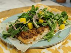 BBQ Potato Chip-Crusted Salmon with Watercress Salad Recipe | Katie Lee | Food Network