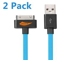Yellowknife Apple MFI Certified Charging and Sync Cable, 3.2 Feet/1M (2 Pieces) with Mini Stylus (1 Piece) - Blue/Green