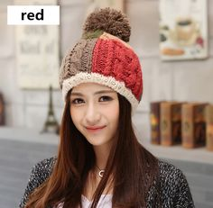 Hit color hairball knit hat for girls winter beanie hats