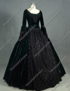 Victorian Gothic Velvet Dress Prom Gown Steampunk Reenactment Punk Costume 153 #VictorianChoice #Dress