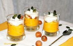 verrine butternut Parmesan, Courge Halloween, Courge Spaghetti, Mousse, Panna Cotta, Nom Nom, Menu, Pudding, Ethnic Recipes