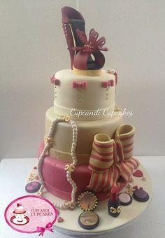 Fashionista gumpaste shoe & accessories cake