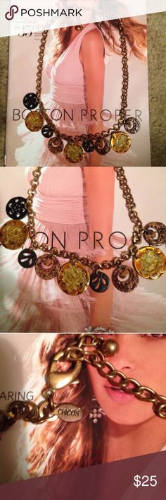 Chico's Bronze chain, charm disc necklace NWOT Never worn, tag slipped off. Has Neck extender for fit preference. Metal black discs and enamel brown & gold discs Chico's Jewelry Necklaces