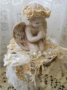 Cherub Angel, Assemblage Art made of Vintage lace, crochet and vintage pearls.
