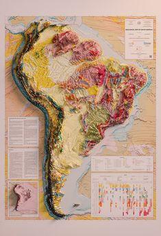Vintage Prints, Vintage World Maps, Topography Map, South America Map, Latin America, Fantasy Map, Large Prints, Artwork Prints, Fine Art Paper