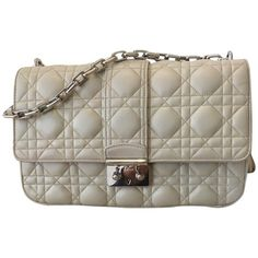 """Pre-owned """"""""Miss Dior"""""""" ($3,320) ❤ liked on Polyvore featuring bags, handbags, cream, quilted hand bags, crossbody purse, brown leather crossbody, purses crossbody and leather crossbody handbags"""
