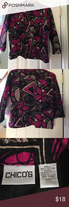 Beautiful chico's jacket. 3/4 sleeve jacket.  Beautfullly cut.  Excellent condition! Chico's Jackets & Coats Blazers