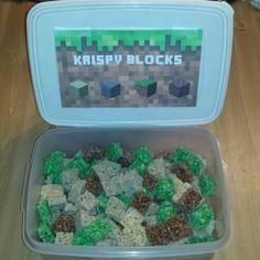 Minecraft rice krispy treats! Easy, fun snack.