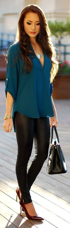 Dance #Teal Dawn by Hapa Time, leather, pants, black, top, blue, bracelet, summer, Women, clothing outfit, style, watch, necklace, heels, burgundy: Women S, Outfit Idea, Fashion Style, Dream Closet, Teal Top, Leather Leggings, Leather Pants, Fall Winter