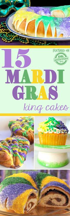 Look no further because we've found 15 Mardi Gras King Cakes to help you celebrate Fat Tuesday in sweet style! These recipes are so yummy. Holiday Activities For Kids, Holiday Crafts For Kids, Christmas Crafts, Mardi Gras Desserts, King Cake Recipe, Cake Bites, Cake Truffles, Mardi Gras Party, Food Stamps