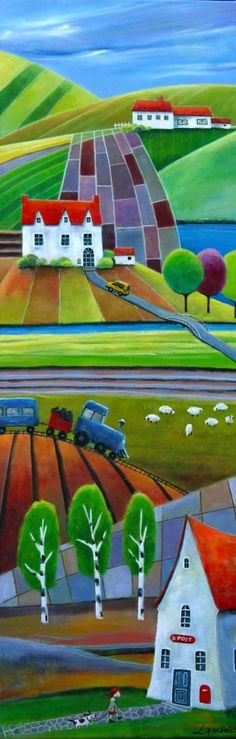 Iwona Lifsches - Ulla goes to the post office Landscape Quilts, Landscape Paintings, Art And Illustration, Art Populaire, Arte Pop, Naive Art, Whimsical Art, Kitsch, Art Lessons