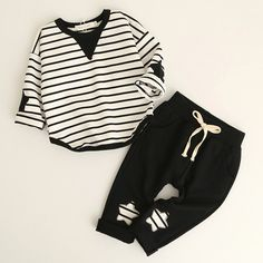 Ropa de los muchachos · Boys Clothing Sets Fashion Style Kids Clothing Sets  Long Sleeve Striped T-shirt Pants 2Pc 9f4bd91eecf